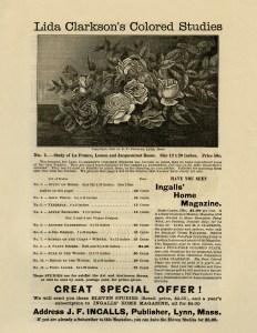 and white graphics, printable vintage advertisement, Lida Clarkson roses, rose clip art, vintage flower engraving, junk journal printable