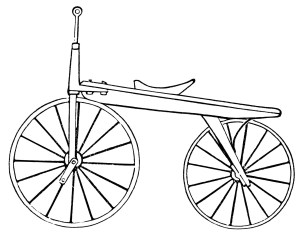vintage magazine advertising, two wheel velocipede, antique bicycle illustration, vintage bike clip art, black and white graphics
