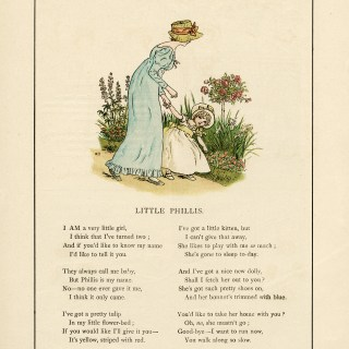 Kate Greenaway, little phillis, vintage storybook image, old fashioned poem, mother and child clip art, Victorian girl clipart