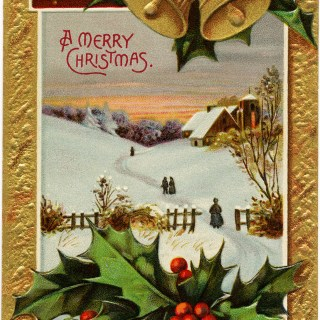 Vintage Country Church Christmas Postcard