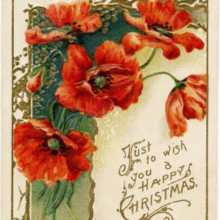 Victorian Christmas Card ~ Poppies