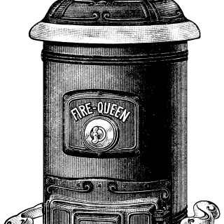 Antique Fire Queen Stove Clip Art