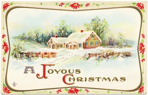 vintage Christmas postcard, old fashioned Christmas, antique postcard graphic, snowy country scene