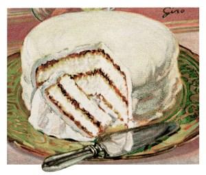 vintage cake clip art, lady baltimore cake, baked goods illustration, vintage kitchen graphics, printable cookbook page, old fashioned cake recipe