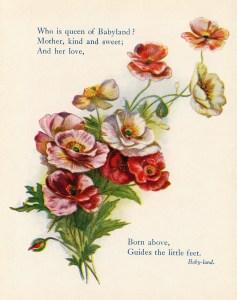 Queen of Babyland, vintage flower printable, cluster of flowers, old fashioned poem, vintage floral graphics, Gems from Eugene Field