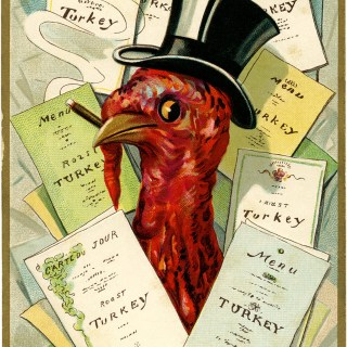 Vintage Thanksgiving Turkey Menu Postcard