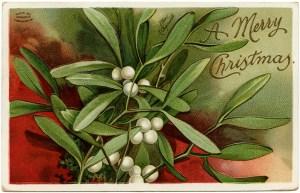 antique Christmas postcard, Ellen Clapsaddle, mistletoe and berries, Victorian Clapsaddle card, vintage Christmas clip art