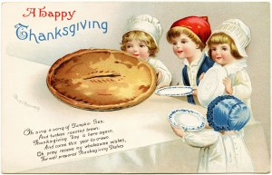 Clapsaddle Thanksgiving postcard, vintage thanksgiving clip art, Ellen Clapsaddle children, kids and pie illustration, old fashioned thanksgiving