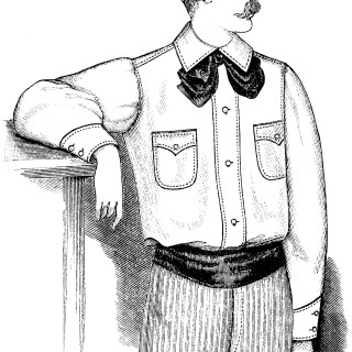 moustache man, Victorian fashion, vintage tennis suit, black and white graphics, vintage clip art