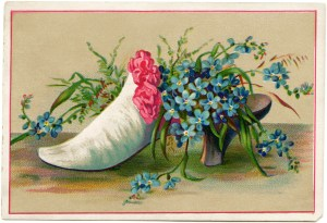 Victorian card, shoe filled with flowers, old fashioned card, art journal printable, forget me not clip art