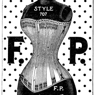 corset clip art, F P corset, black and white graphics, vintage fashion clip art, Bridgeport Corset Co, Fitzpatrick Somers