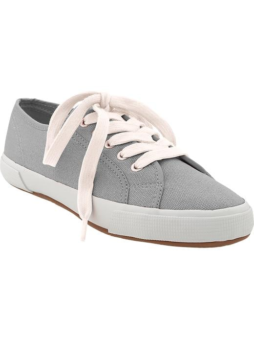 Old Navy Womens Lace Up Canvas Sneakers - Dark heather grey