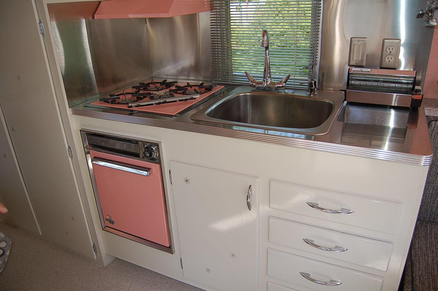 vintage holiday house trailer pictures stainless steel kitchen countertops Photo of kitchen cabinets and amazing stainless steel counter top in Holiday House vintage trailer