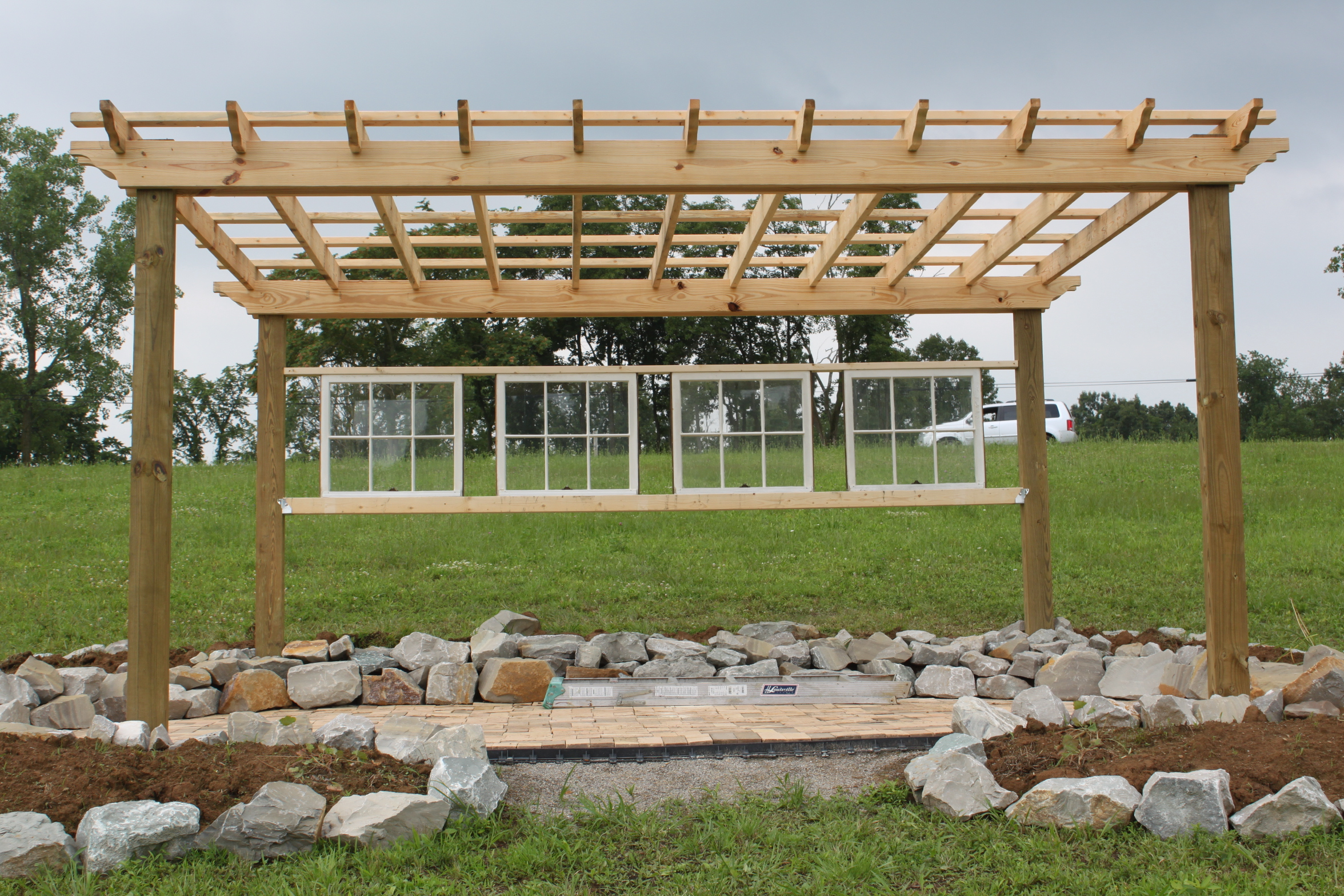 new vineyard pergola which will be the setting for our first outdoor