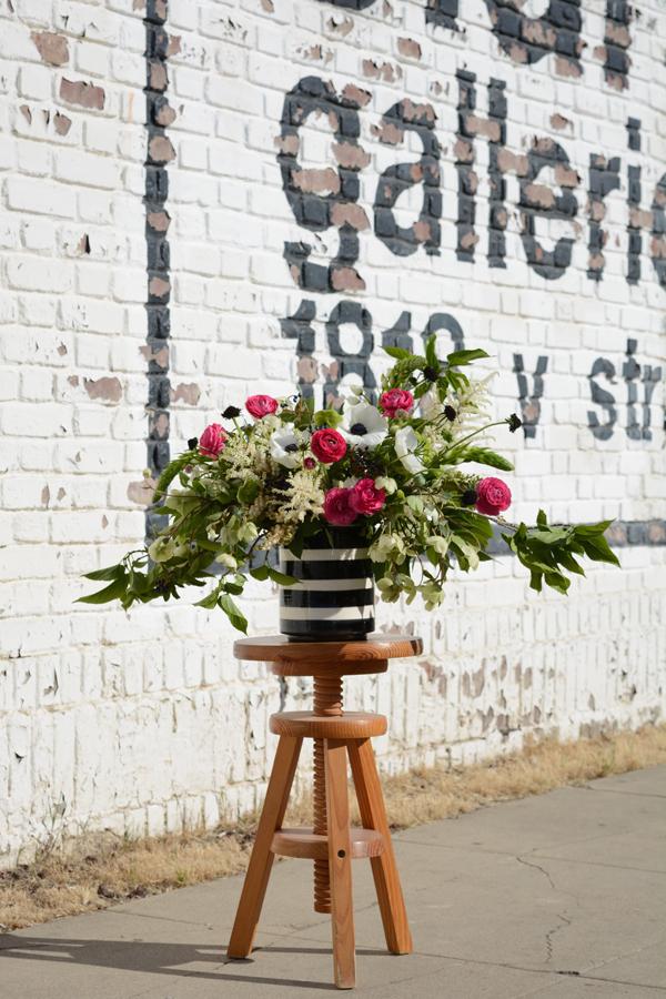 black and white vase arrangement