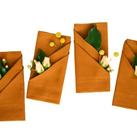 Fall Napkin Folding with Fresh Flowers