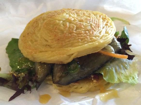 Shizuku - Ramen burger w miso glazed eggplant.
