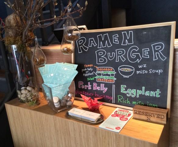 Shizuku - Ramen burger w miso soup.