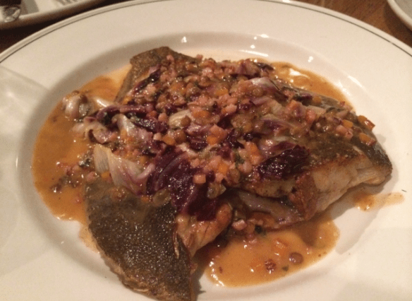 Cumulus Inc. - Flounder w lentils, bacon and radicchio.