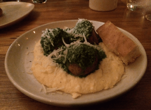 Meatball & Wine Bar - Chicken meatballs with creamy polenta and pesto salsa verde.