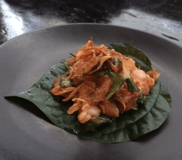 Coda - Spanner crab, galangal, roasted chilli and lime betel leaf