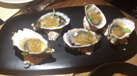 Sezar restaurant - Oysters w compressed apple & anise