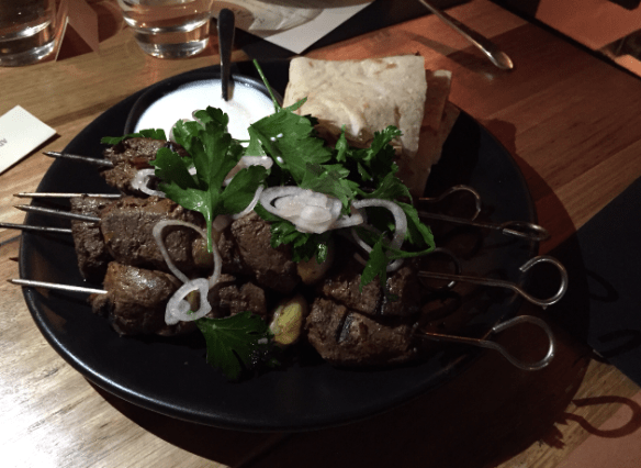 Sezar restaurant - BBQ wagyu w garlic yoghurt and lavash