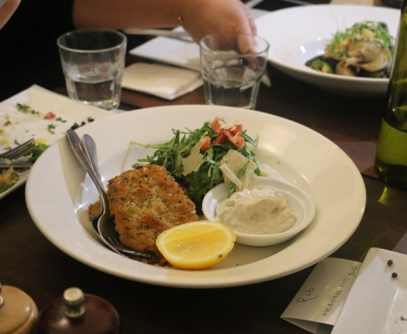 Fitzrovia - Crumbed veal w tomato, rocket and parmesan salad