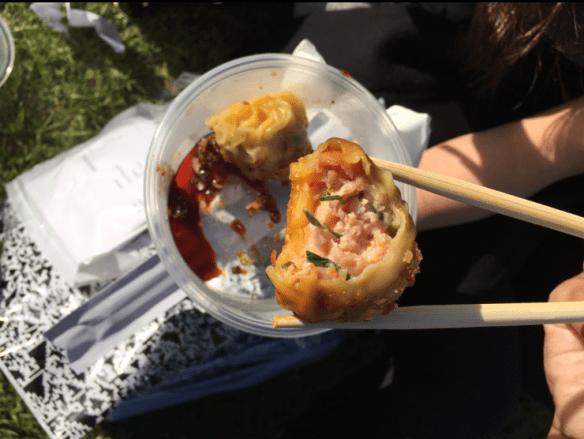 Melbourne Night Noodle Market 2015 - Charlie dumpling - Chicken and goji dumplings