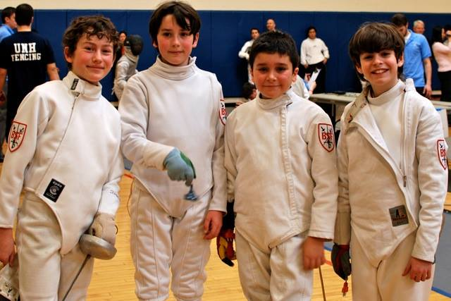 Josh and his fencing friends