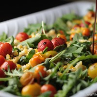 Blistered Tomato, Corn, and Arugula Salad for a Farmers' Market Dinner Party