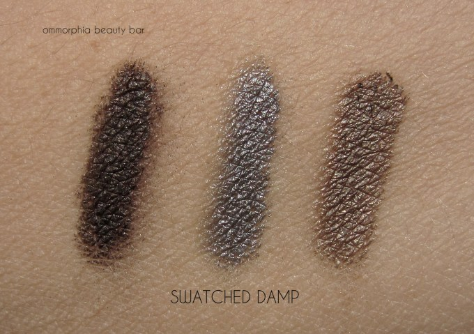 GA Orient Excess Palette eyeshadow swatches damp