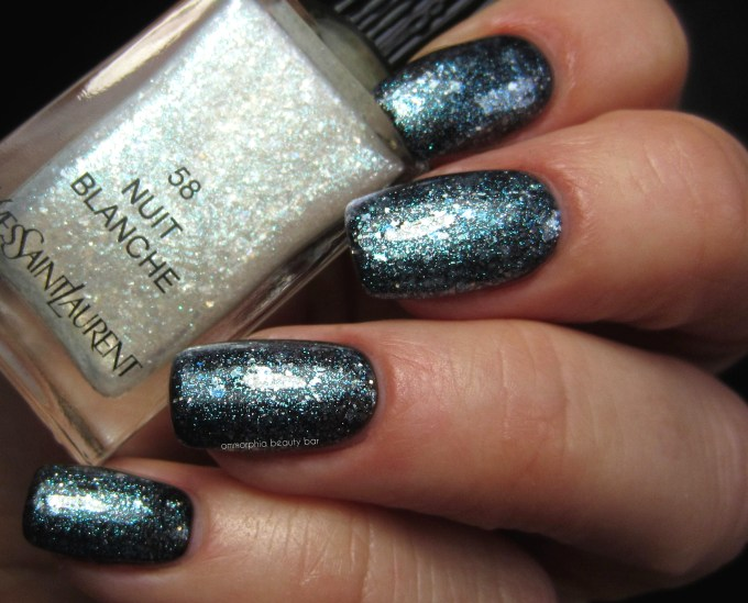YSL Nuit Blanche over Nuit Noire swatch macro