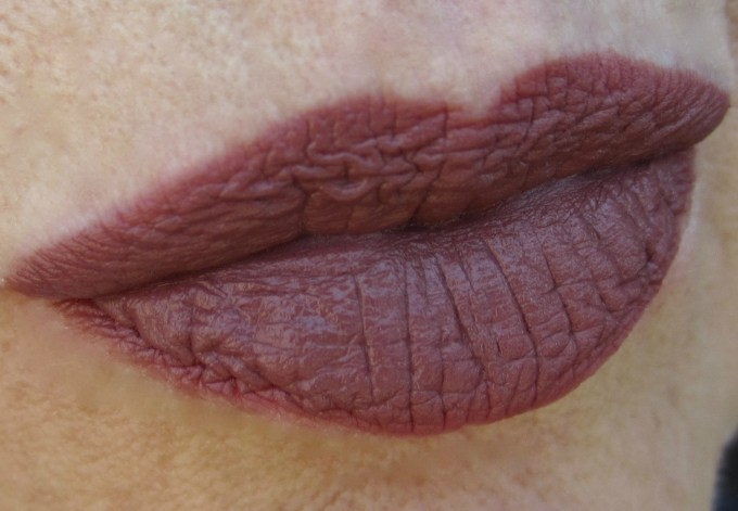 MAC Brooke Candy Whirl lipstick with lip pencil swatch