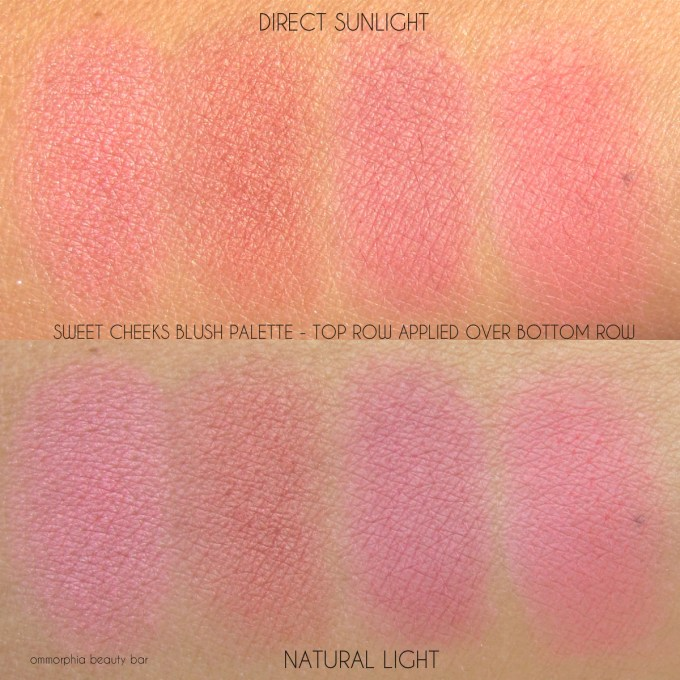 NYX Sweet CHeeks Blush Palette top over bottom row swatches