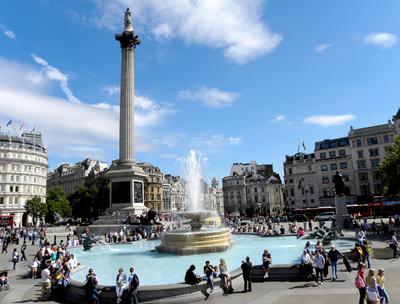 Trafalgar Square on a sunny day