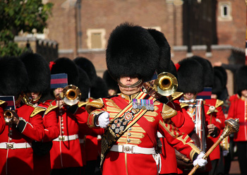Band of the regiment performing the Changing of the Guard at Buckingham Palace