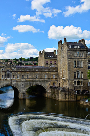 A view of a covered bridge-building in Bath, Somerset