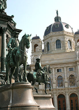 An exterior view of the Kunsthistorisches Museum in Vienna, Austria.