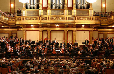 The interior view of the musical hall of the Vienna Philharmonic.