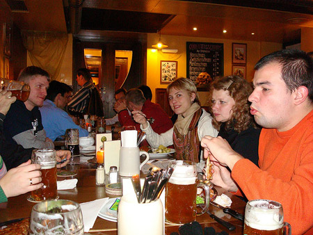 Students haveing drinks in a Cafe in Vienna.