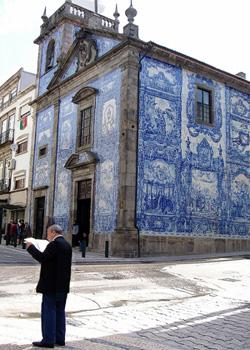 Oporto iglesia azulejos on a building in Porto, Portugal