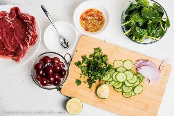 Thai Beef Salad Ingredients | omnivorescookbook.com
