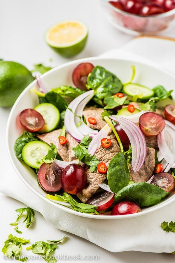 Thai Beef Salad - A paleo salad that is great tasting, beautifully colored, balanced in nutrition, and low in calories | omnivorescookbook.com