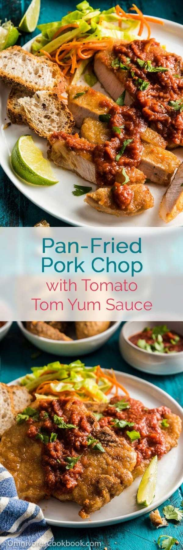 Pan fried Pork Chop with Tomato Tom Yum Sauce - Easy enough to cook on ...