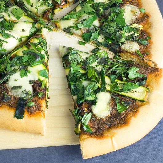 Zucchini, Harissa & Herb Pizza