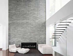 Modern Fireplace Brick Wall White Armchairs Minimalist STairs