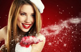 girl-brown-hair-the-snow-maiden-new-year-holiday-smile-hand-glove-snowflakes-red-background