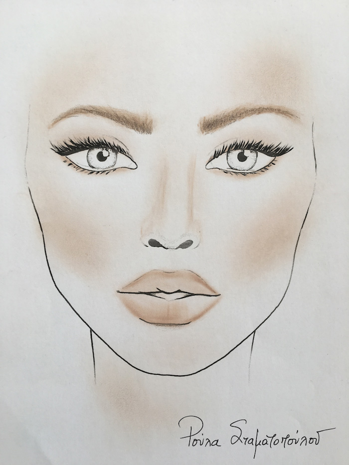 Facechart by Roula Stamatopoulou for Max Factor