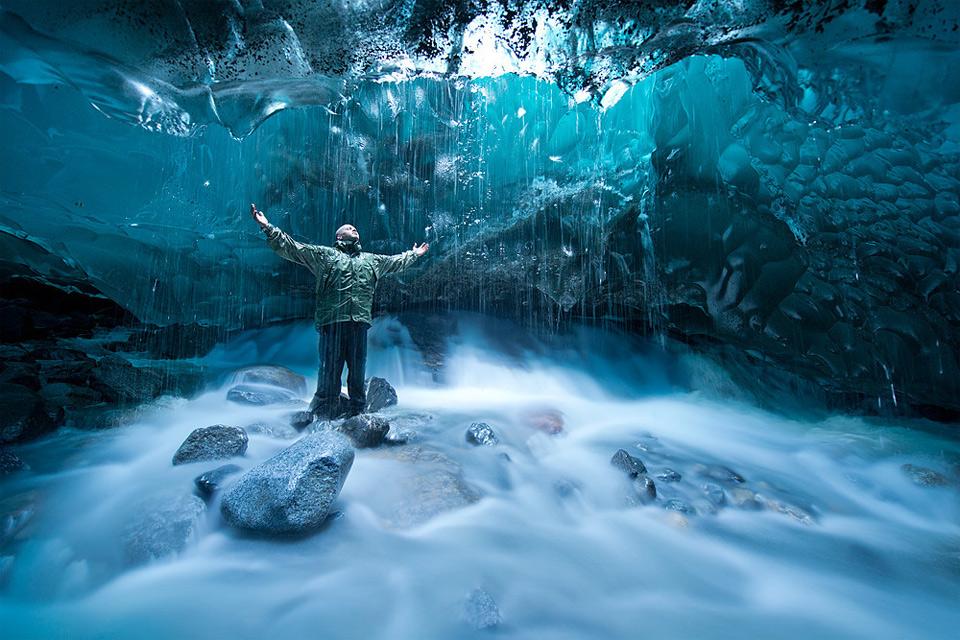 under a glacier